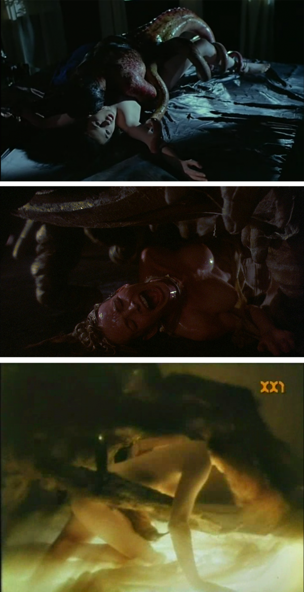 Mutant monster sex is universal. From top to bottom: Possession, Galaxy of Terror, The Spider