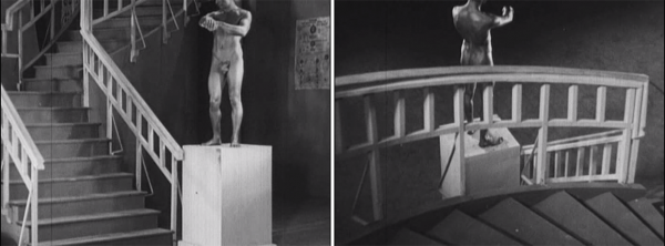 There's a parallel between Jean Cocteau's Blood of a Poet and the above shots from My Grandmother: the statue comes to life and then returns to the pedestal in the reverse-motion photography