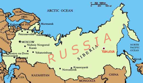 Yakutsk on the map