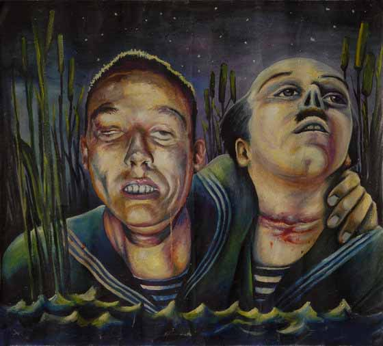 "Leonid Trupyr, ""A Sultry Night in the Reeds"", used in the logo of the Necrorealist mock-studio Mzhalalafilm.  Two drowned sailors with slashed throats are walking through the reeds by the lake shore."